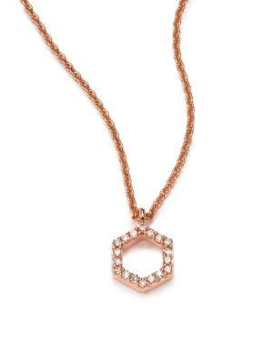 Honeycomb Diamond & 14K Rose Gold Pendant Necklace