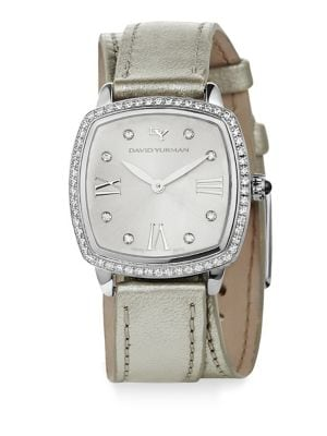 Albion 27MM Metallic Leather Swiss Quartz Watch with Diamonds