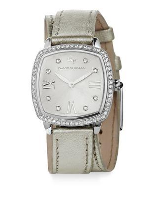 Albion 27MM Metallic Leather Swiss Quartz Watch with Diamonds