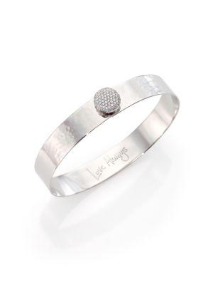 Affair Infinity Love Always Diamond & Hammered 14K White Gold Bangle Bracelet