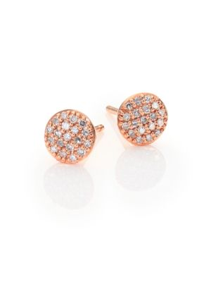 Affair Infinity Micro Diamond & 14K Rose Gold Stud Earrings