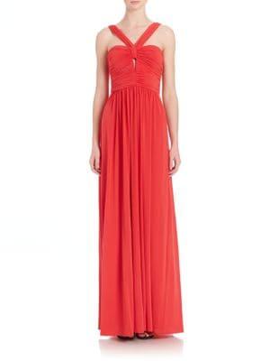 Valane Halter Ruched-Detail Gown