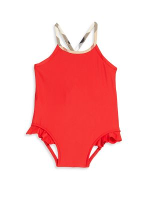 Baby's & Toddler's One-Piece Check-Trim Swimsuit