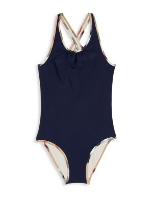 Little Girl's & Girl's One-piece Check-Trim Swimsuit