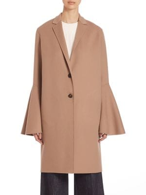 Virgin Wool Bell Sleeve Coat