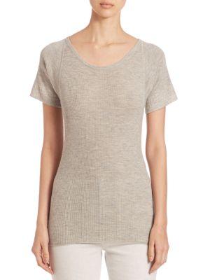 Rib-Knit Cashmere & Silk Blend T-Shirt by Derek Lam