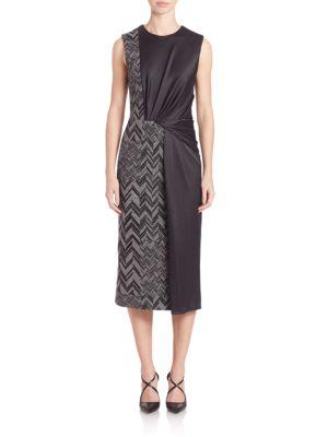 Sleeveless Herringbone Ponte & Charmeuse Dress