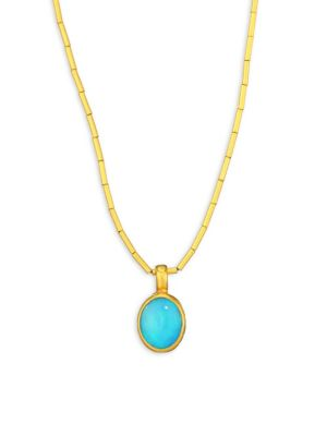 Amulet Hue Opal & 24K Yellow Gold Pendant Necklace