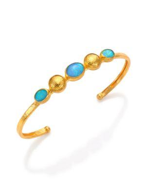 Amulet Hue Blue Opal & 24K Yellow Gold Cuff Bracelet