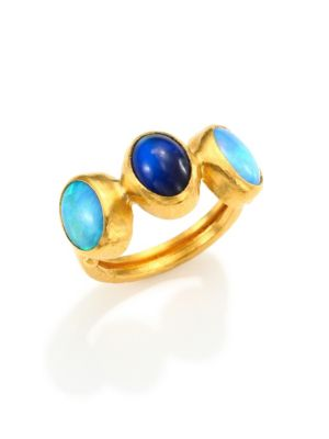 Amulet Hue Opal, Blue Moonstone & 24K Yellow Gold Ring