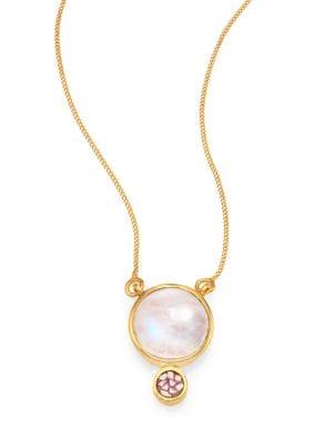 Tulum Ophelia Moonstone & Sliced Raw Diamond Pendant Necklace