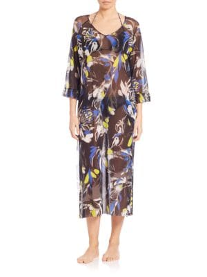 Bell-Sleeve Printed Caftan plus size,  plus size fashion plus size appare