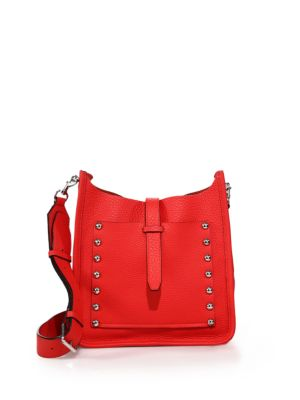 Small Unlined Studded Leather Feed Crossbody Bag