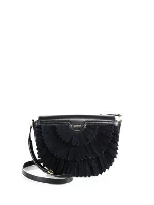 Polette Fringed Suede & Leather Saddle Bag