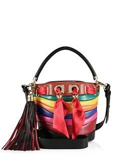 Salvatore Ferragamo By Sara Battaglia Multicolor Stripe Leather Bucket Bag 14788c22af7f8