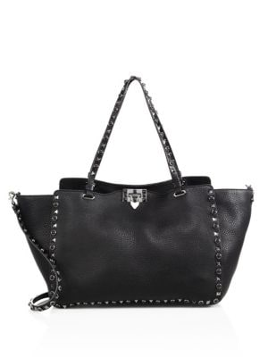 Noir Rockstud Rolling Medium Leather Tote