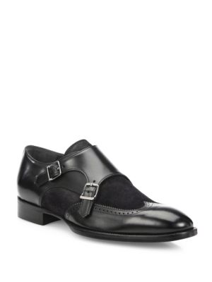 Cameron Leather Double Monk-Strap Dress Shoes