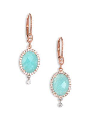 Light Amazonite, Diamond, 14K Rose & White Gold Drop Earrings