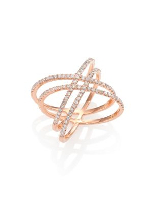 Diamond & 14K Rose Gold Midi Crisscross Ring