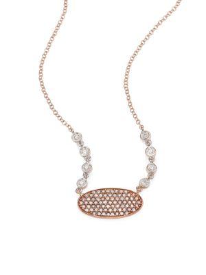 Oblong Disc Diamond, 14K Rose & White Gold Necklace