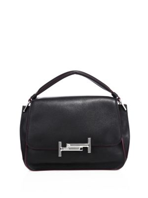 tods female 188971 double t leather messenger bag