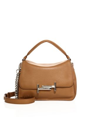 tods female double t leather messenger bag