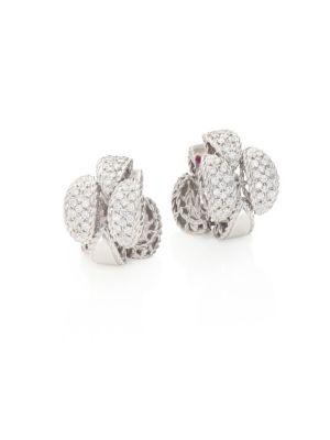 Retro 18K White Gold & Diamond Earrings