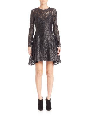 Lacquer Lace Long Sleeve Dress