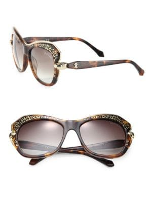 Animal-Print 56MM Geometric Round Sunglasses