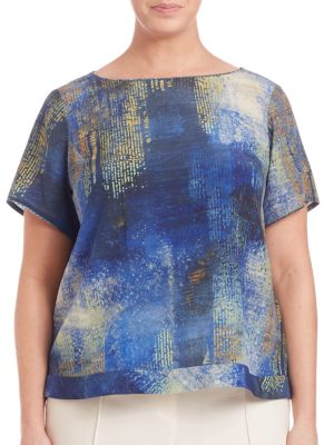 Painterly Silk Tee plus size,  plus size fashion plus size appare