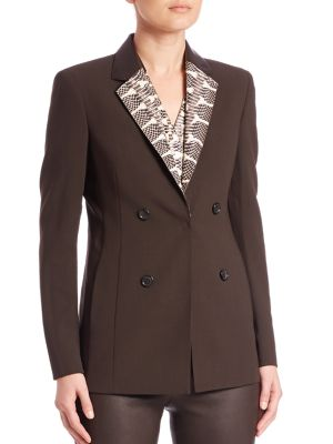 Snakeskin & Leather Collar Wool Jacket