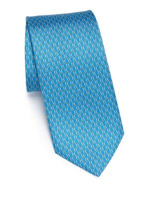 Linked Gancini Printed Silk Tie