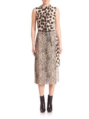 Animal Print Wool & Silk Dress