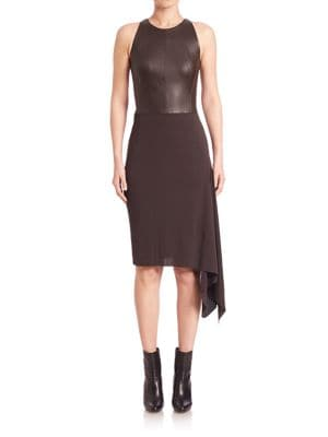 Asymmetrical Leather Combo Dress