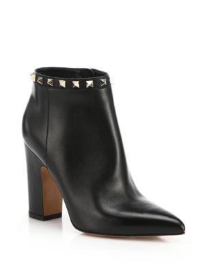Rockstud Leather Point-Toe Booties