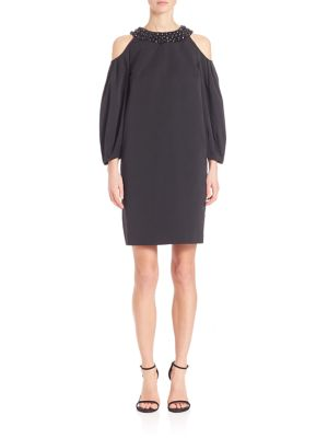 Beaded Taffeta Cold-Shoulder Dress