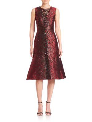 Embellished Silk Fit & Flare Dress