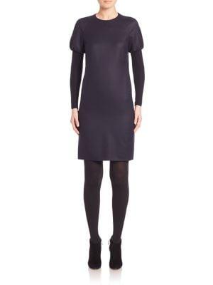 Wool Puff-Shoulder Long Sleeve Dress
