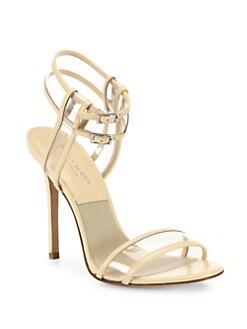 4a6ff59cf950 Michael Kors Collection Brittany Runway Leather   Vinyl PVC Sandals