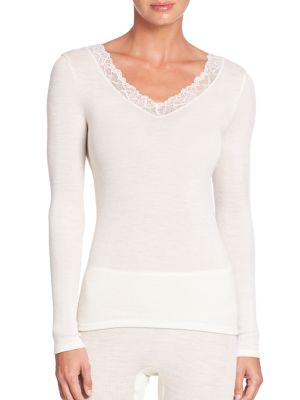 Woolen Lace Long-Sleeve Top