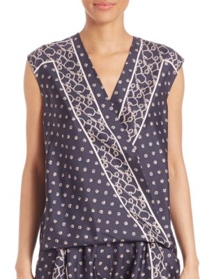 Silk Scarf-Print Top