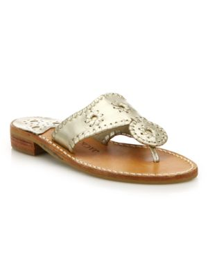 0e0b73a4667f JACK ROGERS HAMPTONS METALLIC LEATHER SANDALS