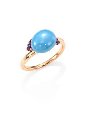 Amethyst, Ceramic & 18K Rose Gold Ring