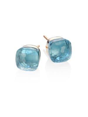 Blue Topaz, 18K Rose & White Gold Stud Earrings