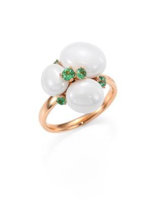 Tsavorite, Ceramic & 18K Rose Gold Ring