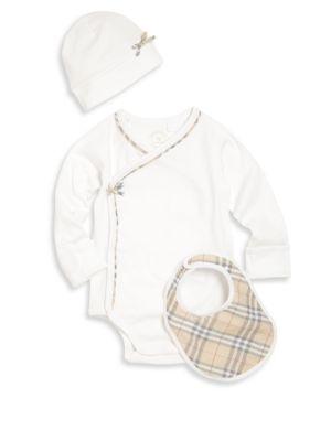 Baby's Three-Piece Bodysuit, Bib & Hat Set