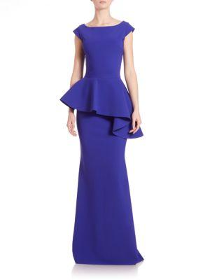 Etheline Cap-Sleeve Peplum Gown