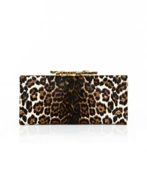 Celeste Leopard-Print Pony Hair Clutch