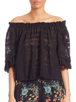 Off-The Shoulder Embroidered Gauze Top plus size,  plus size fashion plus size appare