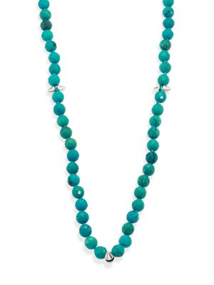 Long Turquoise Spiked Beaded Necklace